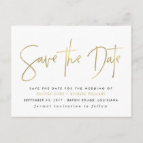 Gold Modern Save the Date Announcement Postcard
