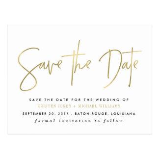 Gold Modern Save the Date Postcard