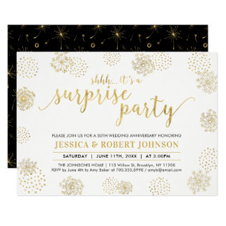 Gold | Modern Surprise 50th Wedding Anniversary Card