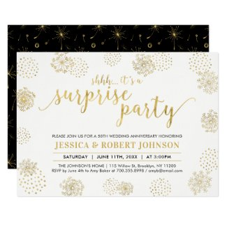 Gold | Modern Surprise 50th Wedding Anniversary Invitation