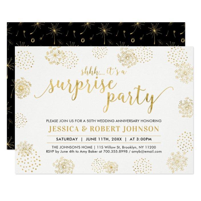 Gold Modern Surprise 50th Wedding Anniversary Invitation Zazzle Com