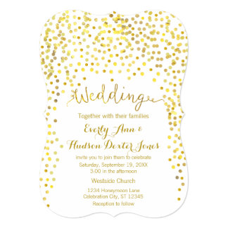 Gold Modern Typography Wedding Invitation