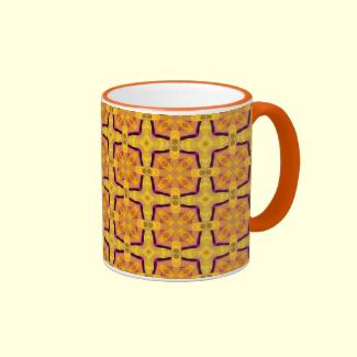 Gold Modern Violet Geometric Cubes Mug