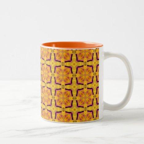 Gold Modern Violet Geometric Cubes Two-Tone Coffee Mug