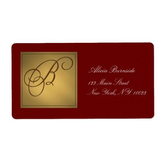 Gold Monogram Address / Gift Tag label B
