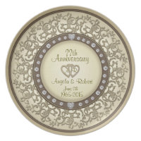 Gold Monogram Anniversary with Hearts Melamine Plate