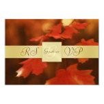 Gold Monogram Autumn Fall Leaf RSVP Invitation