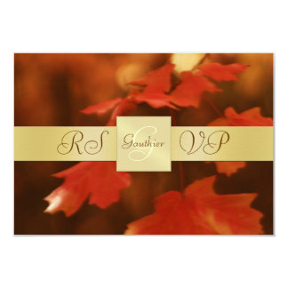 "Gold Monogram Autumn Fall Leaf RSVP Invitation 3.5"" X 5"" Invitation Card"