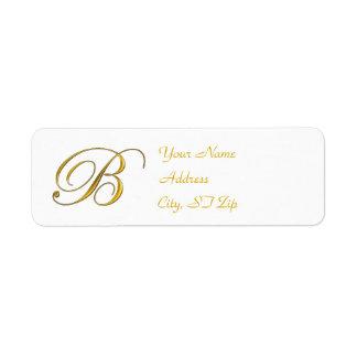 Gold Monogram B Return Address Labels