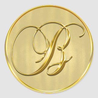 Gold Monogram B Seal Classic Round Sticker