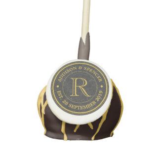 Gold Monogram Black Leather Wedding Anniversary Cake Pops