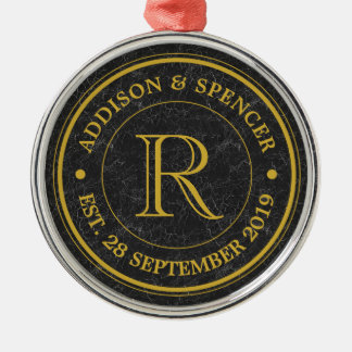 Gold Monogram Black Leather Wedding Anniversary Metal Ornament