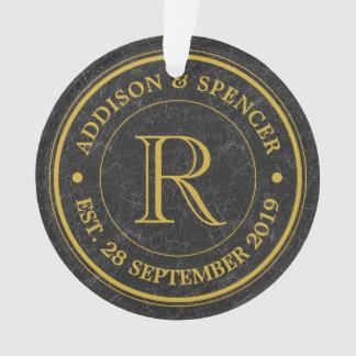 Gold Monogram Black Leather Wedding Anniversary Ornament