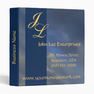Gold Monogram Blue Sky Elegant Business Binder