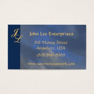 Gold Monogram Blue Sky  Elegant Business Card