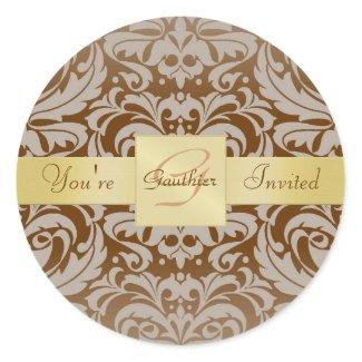 Gold Monogram Brown Damask Invitation Sticker sticker