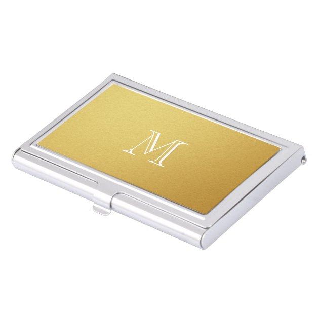 Gold Monogram Business Card Holder