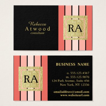 Professional Business Gold Monogram Business Cards Black Coral