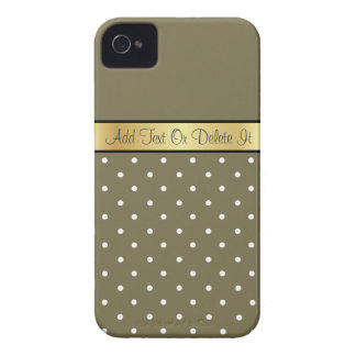 Gold Monogram Chic Loden Green & White Polka Dots iPhone 4 Case