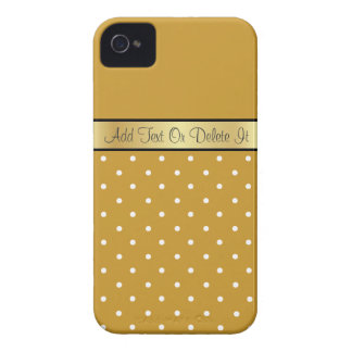 Gold Monogram Chic Mustard Seed & White Polka Dots Case-Mate iPhone 4 Case