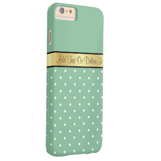 Gold Monogram Chic Peapod Green & White Polka Dots Barely There iPhone 6 Plus Case