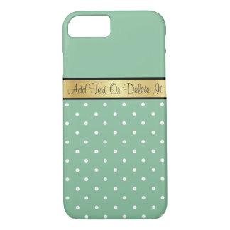 Gold Monogram Chic Peapod Green & White Polka Dots iPhone 8/7 Case