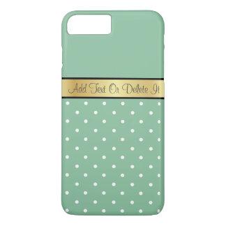 Gold Monogram Chic Peapod Green & White Polka Dots iPhone 8 Plus/7 Plus Case