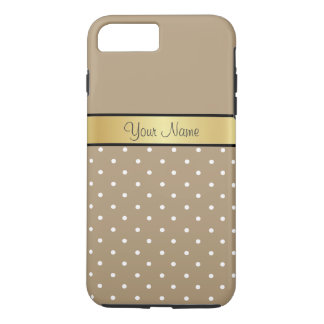 Gold Monogram. Chic Starfish Brown White Polka Dot iPhone 7 Plus Case