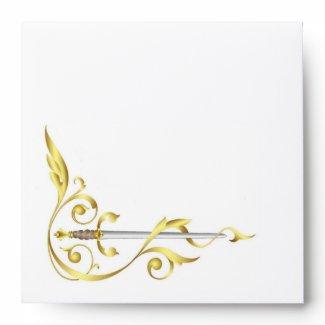Gold Monogram Elegant Dagger Invitation Envelope envelope