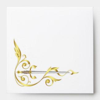 Gold Monogram Elegant Dagger Invitation Envelope