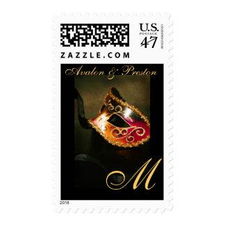 Gold Monogram Elegant Masqurade Mask Postage