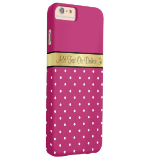 Gold Monogram Elegant Peony Red & White Polka Dots Barely There iPhone 6 Plus Case