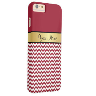 Gold Monogram. Elegant Spicy Red & White Chevron Barely There iPhone 6 Plus Case