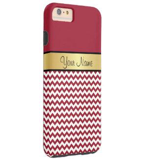 Gold Monogram. Elegant Spicy Red & White Chevron Tough iPhone 6 Plus Case