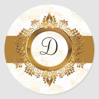 gold monogram envelope seal classic round sticker
