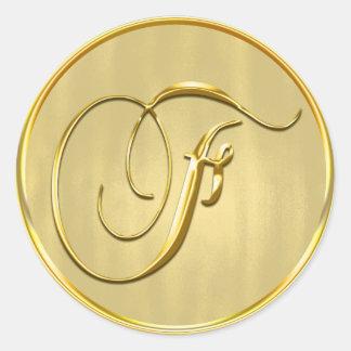 Gold Monogram F Seal Classic Round Sticker
