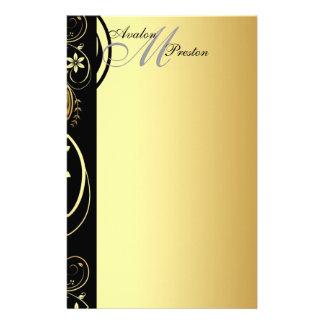 Gold Monogram Floral Scroll Wedding Stationary Stationery