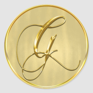 Gold Monogram G Seal Classic Round Sticker