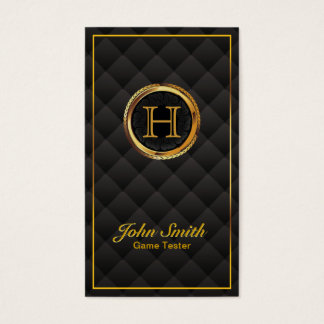 Gold Monogram Game Testing Business Card