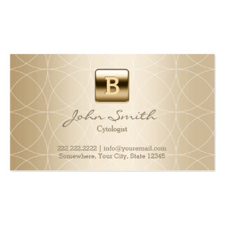 Gold Monogram Geo Patterns Cytologist Business Card