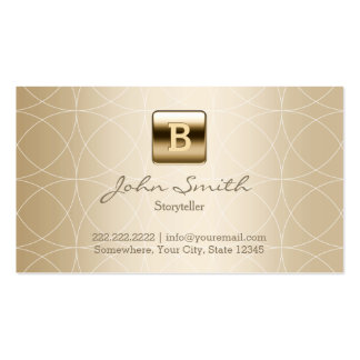 Gold Monogram Geo Patterns Storyteller Double-Sided Standard Business Cards (Pack Of 100)