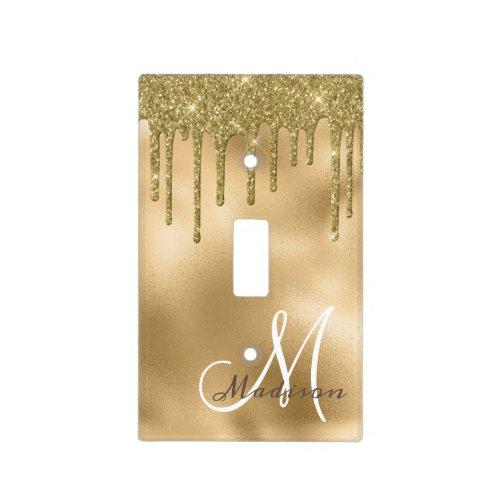 Gold Monogram Glitter Drips Pretty Girly Light Switch Cover