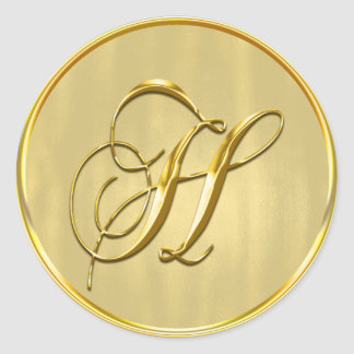 Gold Monogram H Seal Classic Round Sticker