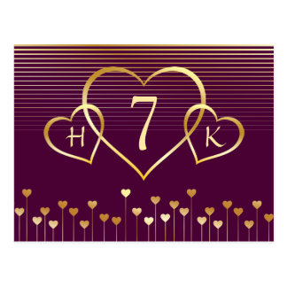 Gold Monogram Heart Table Number Postcard