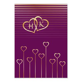 "Gold Monogram Heart Wedding Invitation 5"" X 7"" Invitation Card"