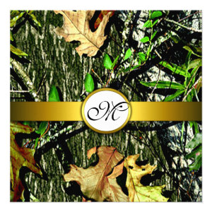 Gold Monogram Hunting Camo Wedding Invitations