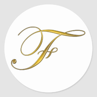 Gold Monogram Initial F Stickers