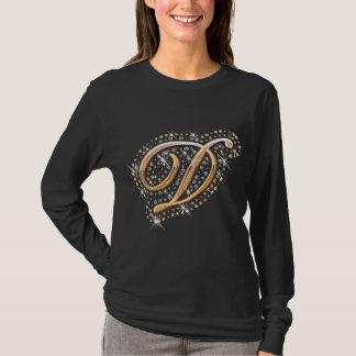 Gold Monogram Initial Letter D T-Shirt