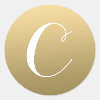 Gold Monogram Initial Script Label