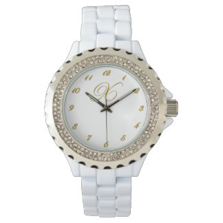 Gold Monogram Initial X Watch with Gold Numbers
